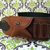 Brown Steampunk Western Costume Cartridge Bullet Belt Size 32 with Snap Pocket