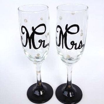 Mr. and Mrs. hand painted champagne flutes set