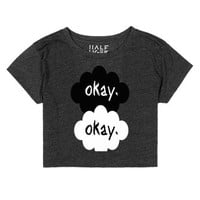 Okay Okay Crop Top-Female Heather Onyx T-Shirt