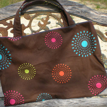 big multipurpose market tote beach bag, chocolate brown with geometric starburst pattern in bright vibrant colors fully lined one pocket