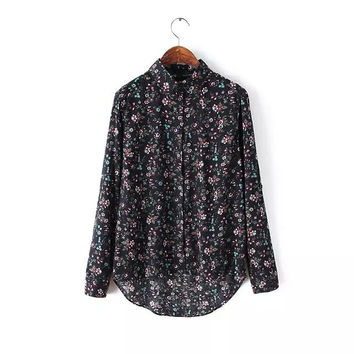 Summer Vintage Print Cotton Blouse Casual Bottoming Shirt [6047364929]
