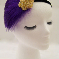The Lucille - purple feather 1920s headband, royal purple fascinator, purple Gatsby hair piece, art deco 20s hair accessories