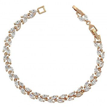 Gold Layered Tennis Bracelet, Leaf Design, with Cubic Zirconia, Rose Gold Tone