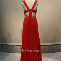 2014 Red Beading Backless Prom Dress/Floor Length Party Dress/Long Grad Dress