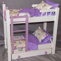 Doll bunk bed with trundle bed perfect for the American Girl Doll with antique white finish, 11 piece bedding set and handmade owl applique