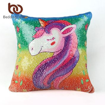 BeddingOutlet Unicorn Sequin Mermaid Cushion Cover Cartoon Decorative Pillowcases Reversible Pillow Cover for Kids Dropshipping
