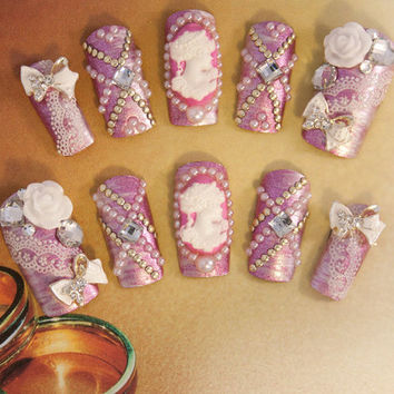Bridal Nail Art - Romantic Vintage Wedding Nails - 3D false fake press-on nail art - Japanese Nail Art