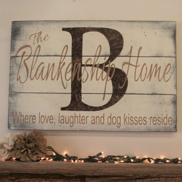 Name Sign Initial Sign Family Name Pallet Sign Dog Lovers Home Decor Wall Decor Shabby Chic Distressed Wood Wedding Gift Bridal Shower Gift