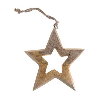 Hanging Wooden Distressed Star Cut-Out Christmas Ornament, Natural, 4-Inch