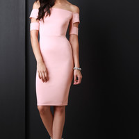 Banded Sleeve Off The Shoulder Bodycon Dress