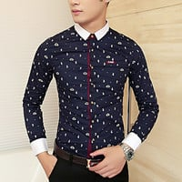 Slim Fit Designer Print Men Fashion Dress Shirt
