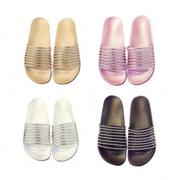 Diamond Stripe Bling Slippers Summer Women Slippers Beach Slides Flip Flops Ladies Sandals Casual Shoes