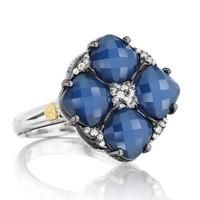 Tacori 18K925 City Lights Diamond & Blue Quartz Four Stone Ring