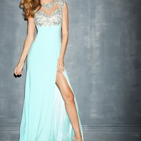 Night Moves 7001 Jeweled Illusion Neck Gown