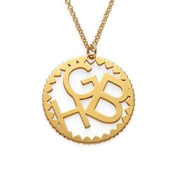 Multi Initials Circle Necklace in Rose Gold Plating