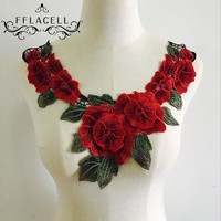 FFLACELL Fabric Flower Venise Lace Sewing Applique Lace Collar Neckline Collar Applique Diy Craft Neckline Sewing Accessories