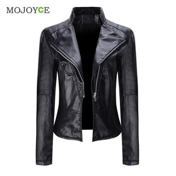 Black Slim Motorcycle Zipper Jacket Soft PU Leather Short Biker Coat Outwear Biker Jacket Jaqueta Feminina Damen Jacket Women SN9
