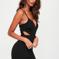 Missguided - Black Strappy Plunge Cut Out Waist Bodycon Dress