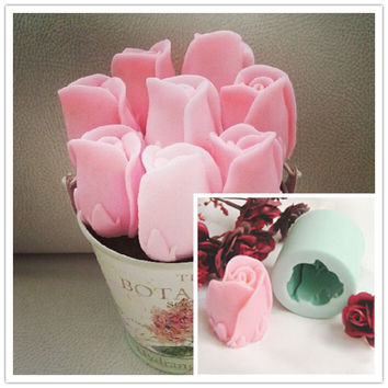 Nicole R0141 Easy Unmold Flexible 3D Rose Flower Silicone Decorative Soap Candle Molds Resin,Clay Crafts Mould