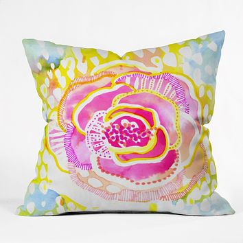 CayenaBlanca Pink Sunflower Throw Pillow