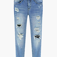 Distressed Straight Boyfriend Jeans
