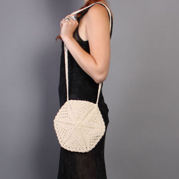 70s Ivory CROCHET PURSE / Small Antique Looking Shoulder Bag