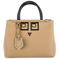 Fendi women's leather handbag shopping bag purse petite 2jours occhi brown