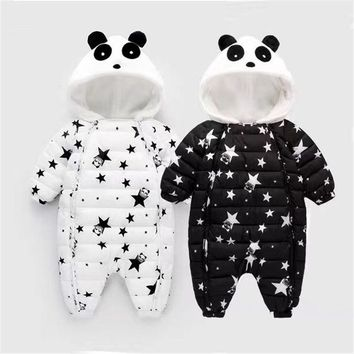 Winter Infant Thick Warm Ski Suit Baby Rompers Clothes Newborn Toddlers Hooded Overalls Boys Girls Jumpsuit Kid Outerwears P136