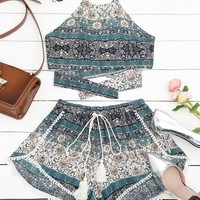 Tribal Print Halter Top and Shorts Set
