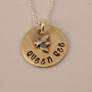 Queen Bee Necklace - Brass pendant with Sterling silver bee accent & chain
