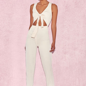 Clothing : Jumpsuits : 'Goya' Cream Crepe Knotted Front Jumpsuit