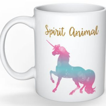 Unicorn Mug Unicorn Spirit Animal Gift for Girlfriend Coffee Mug Unicorns and Rainbows Funny Coffee Mug Mother's Day Gift for Her Wife Gift