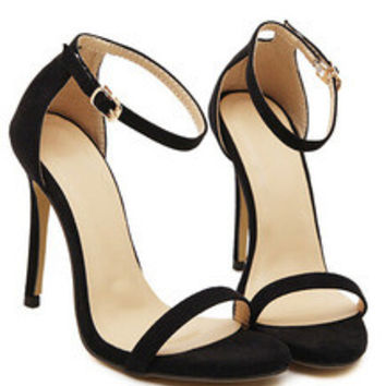 Black Stiletto High Heel Ankle Strap Sandals