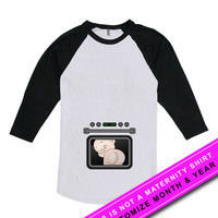 Custom Pregnancy Announcement T Shirt Maternity Tops Pregnancy Clothes Custom Month Shirt Mommy To Be American Apparel Unisex Raglan MAT-583