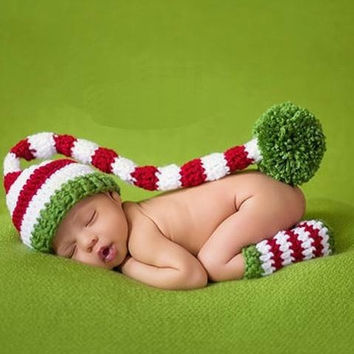 Baby Long Tail Stripe Cap with Leg Warmer Fashion knit Knitting Prince Unisex Cosplay Costume Beanie Crochet Clothing Set Newborn Infant Toddler Photography Props Fashion Outfits Caps & Hats = 1958301060