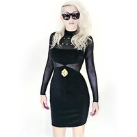 Mesh and Studs Bodycon Geometric Dress / M /