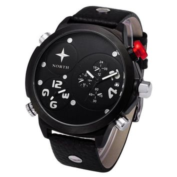 Men Leather Stainless Steel Sport Analog Quartz Wrist Watch Waterproof