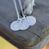 Personalized Sterling silver Disc Necklace Dainty 14K Gold Filled Hand Stamped Couples Necklace Gold Filled Initial Jewelry Bridesmaid Gift