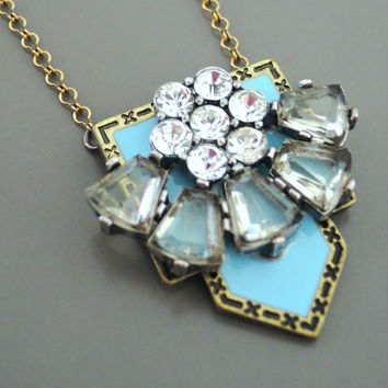 Vintage Necklace - Art Deco Necklace - Upcycle Necklace - Crystal Necklace - Tiffany Blue Necklace - Brass Necklace - OOAK - handmade
