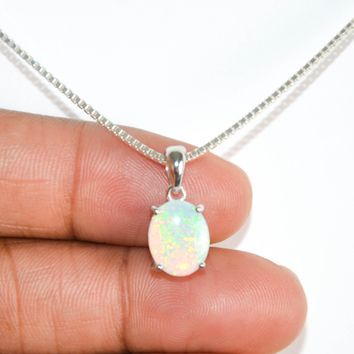 White Fire Opal Necklace, Sterling Silver Opal Necklace, October Birthstone Jewelry, Bridal Necklace, Oval Cut Opal Pendant, Girlfriend Gift