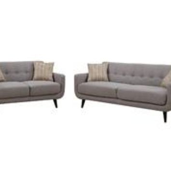 Crystal Gray 2 Piece Sofa and Love Seat Living Room Set