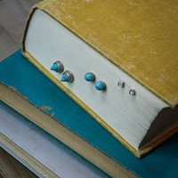 Multi Shape Studs in Silver and Turquoise