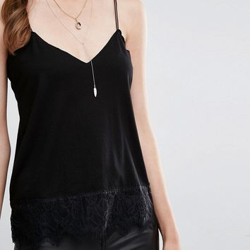 Pull&Bear Lace Trim Cami Top