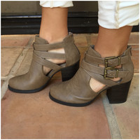 Taupe Scribe Ankle Booties - TAUPE