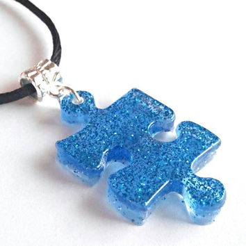 Autism awareness blue resin bling necklace, autism puzzle pieces jewelry, autism Jewelry, autism mom, autism son, handmade resin jewelry
