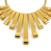 Cleopatra Collar - Vintage 1970s Egyptian Revival Bib Necklace, Gold Metal Rays with Curled Loop Ends, Thick Mesh-Textured Fringe Choker