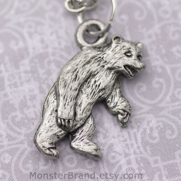 Grizzly Bear Necklace, Silver Brown Bear Jewelry, Mountain Wildlife Necklace, Storybook Animal Charm, Wild Bear Necklace, Polar Bear Jewelry