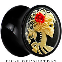 "1/2"" Black Acrylic Red Rose Skeleton Cameo Saddle Plug 