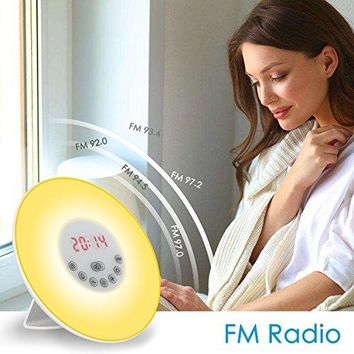 Mowiss Wake-Up Light Morning Alarm Clock,Nature Night Light with Sunrise Simulation and FM Radio Sounds,4 Brightness,5 Colors,7 Sounds and Touch Control Multi-Functional for Kids&Adults,for Bedroom