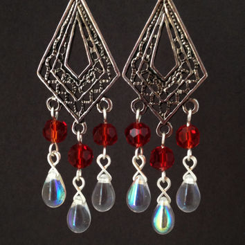 Ruby Red Chandelier Earrings, Free Shipping within USA